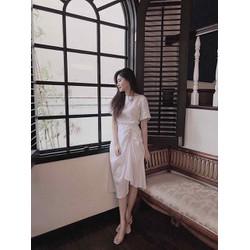 Đầm trắng tay con kết hợp nút ngọc viền hông- restoked