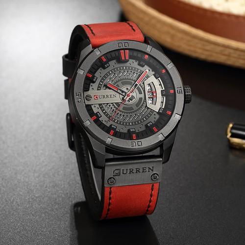 Đồng hồ doanh nhân nam chống nước Curen 8301- Dây đỏ mặt đen