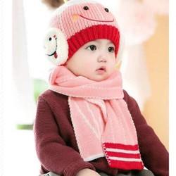 [ hỗ trợ phí vận chuyển] set khăn mũ mặt cười cho bé