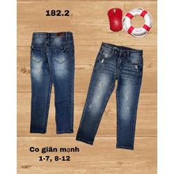 Quần jean dài bé trai BBVT, chất jean cao cấp, 27-37kg.