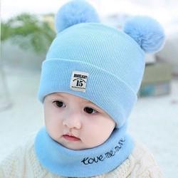 Mũ len - Mũ len em bé - Mũ len trẻ con - Mũ len kèm khăn - combo mũ kèm khăn len 2 quả bông siêu yêu cho bé