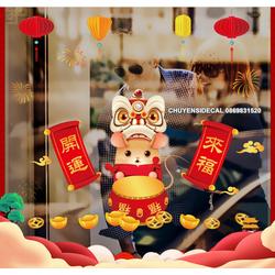 Decal trang trí tường Tết - Chuột Múa Lân