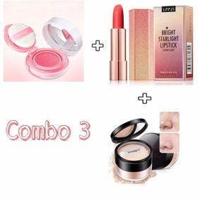 Combo 3 son môi +phấn má hồng +phấn nền phấn phủ - combo9