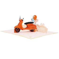Thiệp nổi 3d Xe vespa bong bóng, thiệp chúc mừng, thiệp nổi tặng doanh nghiệp, thiệp sinh nhật