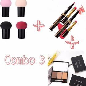 Combo 3 món bông trang điểm +son môi 2 đầu+bột tán mày - combo8