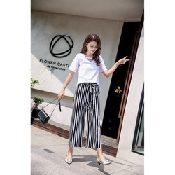 Quần giả váy ống rộng chiffon lung thun Hàng Quảng Châu