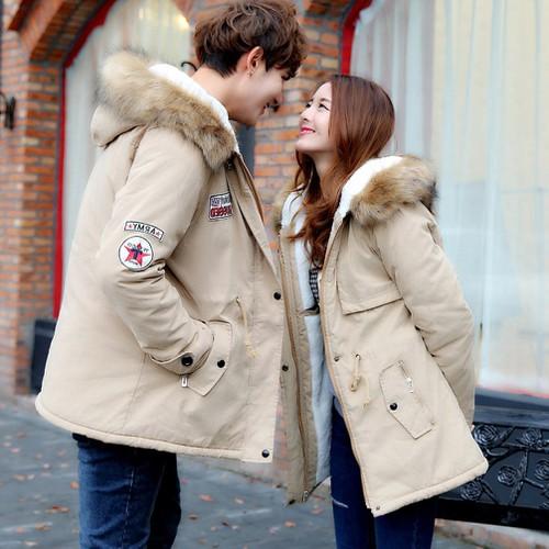 Combo 2 Áo Khoác Đôi thu đông nam nữ dài tay kaki lót lông có mũ cao cấp couple love tình yêu