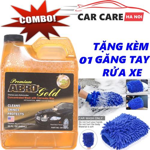 Bộ Nước Rửa Xe  Abro Premium Gold Car Wash 946ml Kèm 1 Găng Tay Rửa Xe