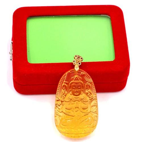 Mặt Thiên Thủ Thiên Nhãn pha lê vàng hộp nhung