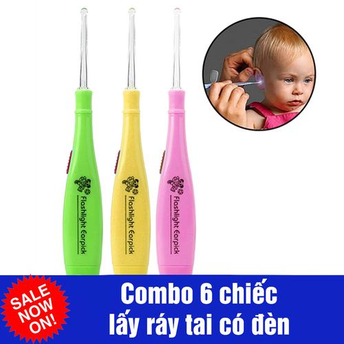 Combo 6 dụng cụ lấy ráy tai có đèn cho bé
