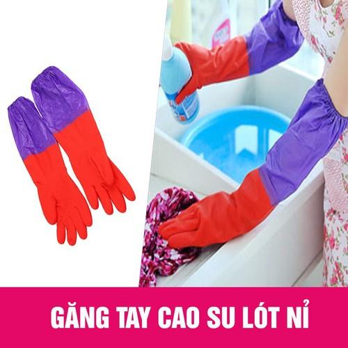 Găng tay rửa bát lót nhỉ dùng để rửa bát, vệ sinh nhà cửa