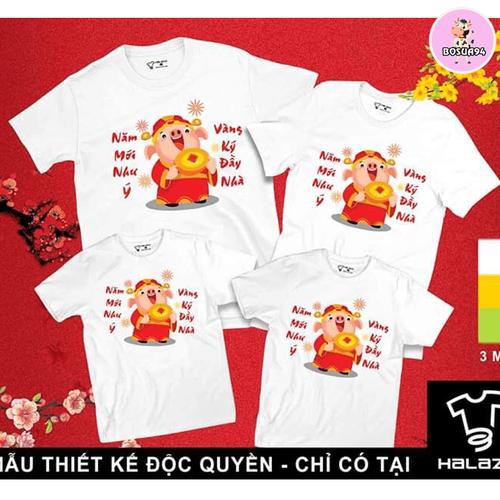 Áo gia đình Heo thần tài cotton loại 1 đủ size 5-110kg giá 1 áo