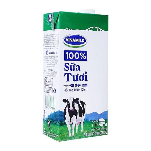 Combo 6 hộp sữa tươi tiệt trùng VINAMILK có đường - hộp giấy 1 lít