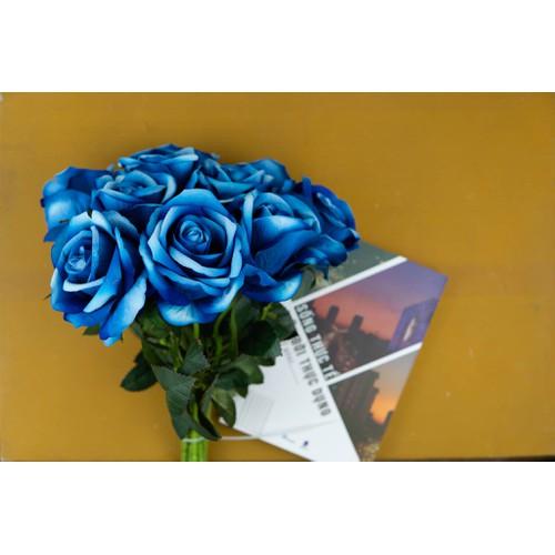 Combo 20 bông hoa hồng phủ nhung màu xanh