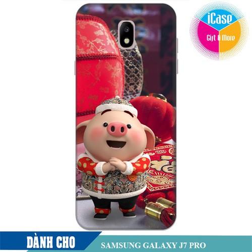 Ốp lưng nhựa dẻo dành cho Samsung Galaxy J7 pro in hình Heo Con Chúc Tết