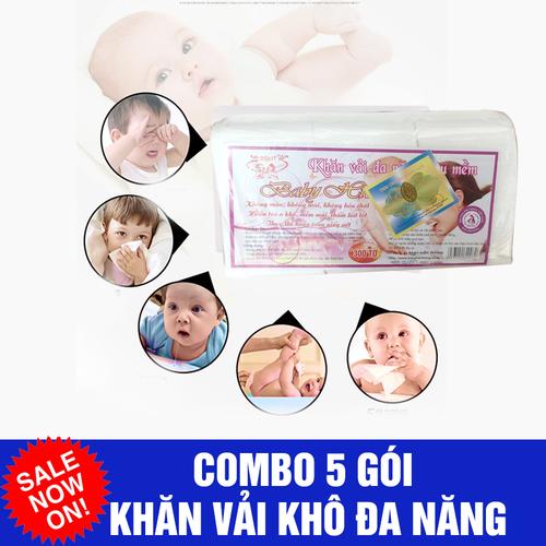 Combo 5 gói khăn vải khô đa năng Hiền Trang baby