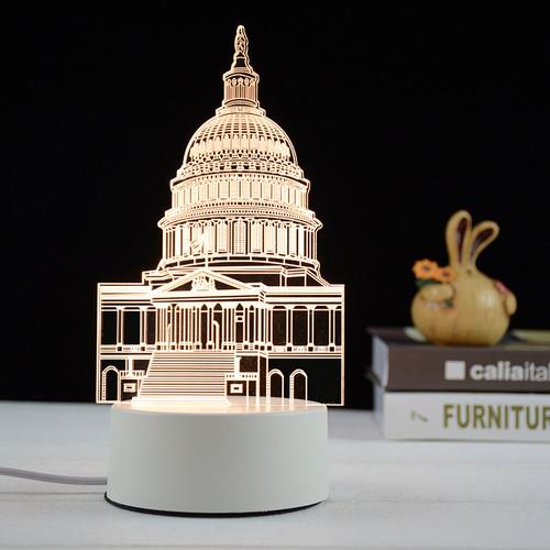 Đèn ngủ, đèn trang trí Led 3D, Đèn ngủ 7 màu mini tòa nhà Capitol