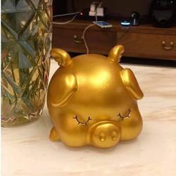 Heo tiết kiệm, lợn tiết kiệm vàng mẫu mới 2019, heo vàng thần tài silicon Loại To