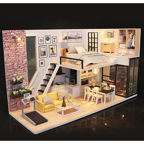 Bộ lắp ráp mô hình nhà gỗ DIY: Ngôi Nhà Give You Happiness M038-Tặng mica+keo