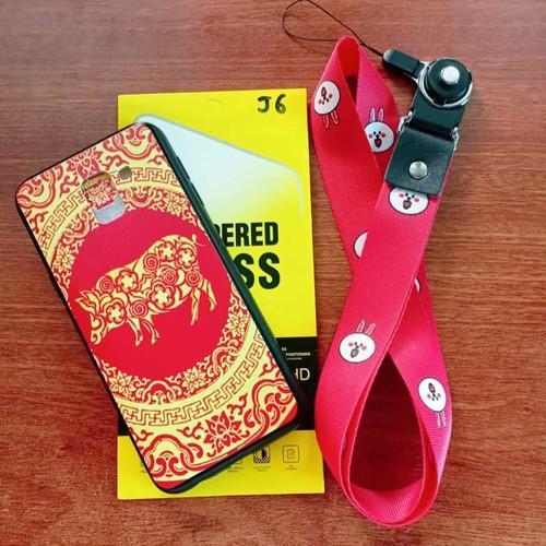 ốp samsung J6kèm dây đeo điện thoại tặng cường lực
