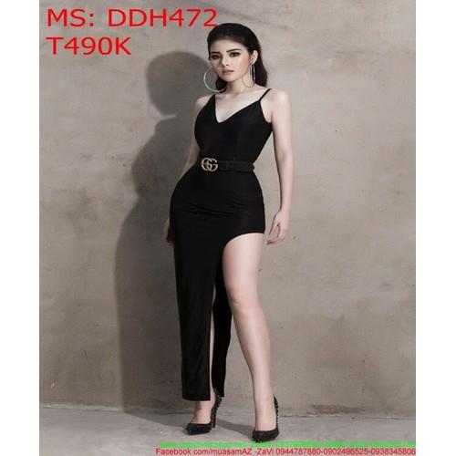 Đầm maxi 2 dây màu đen và xẻ đùi thời trang DDH472