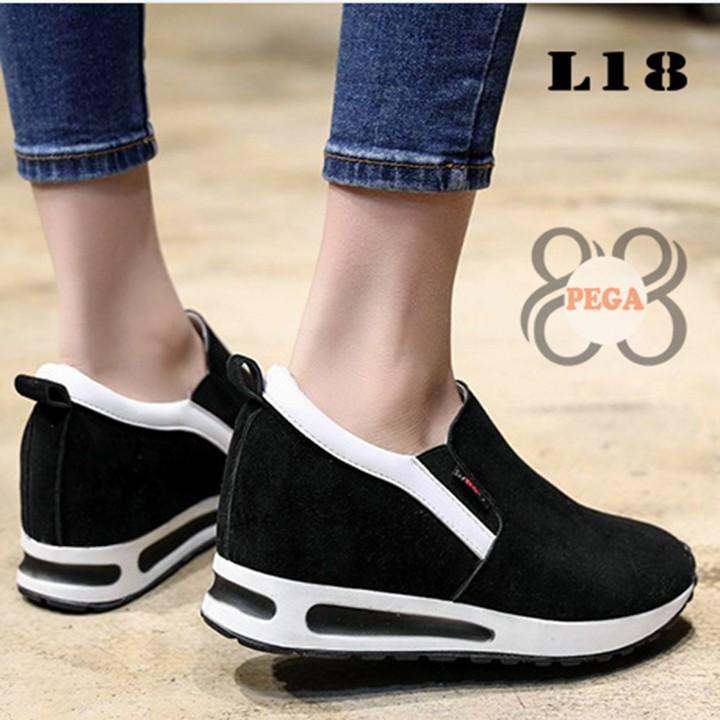 Giày Slip On Da Lộn Độn Đế 7cm sành điệu L18 2
