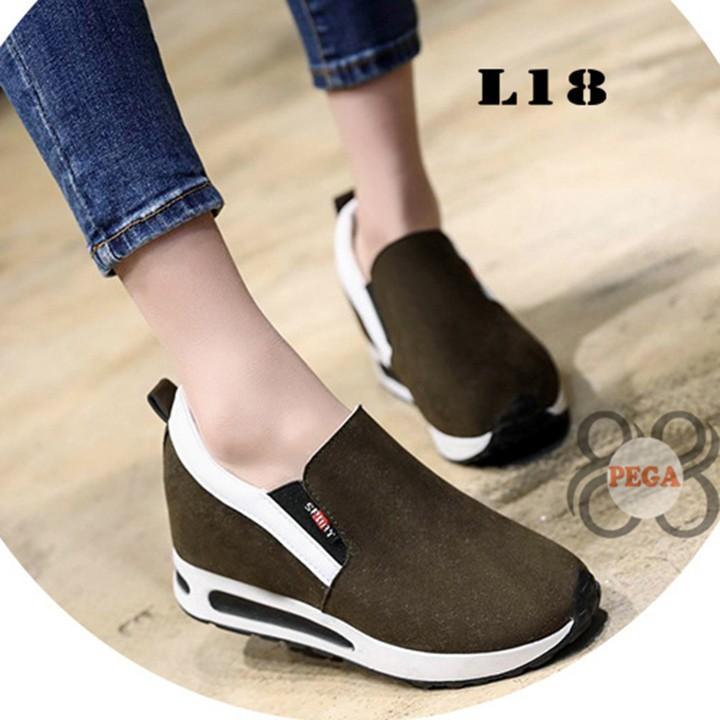 Giày Slip On Da Lộn Độn Đế 7cm sành điệu L18 7
