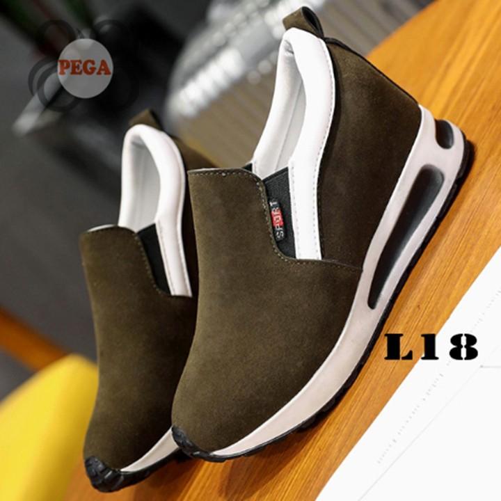 Giày Slip On Da Lộn Độn Đế 7cm sành điệu L18 9