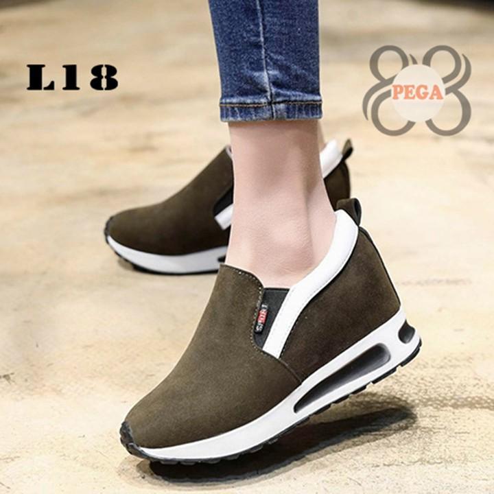 Giày Slip On Da Lộn Độn Đế 7cm sành điệu L18 4