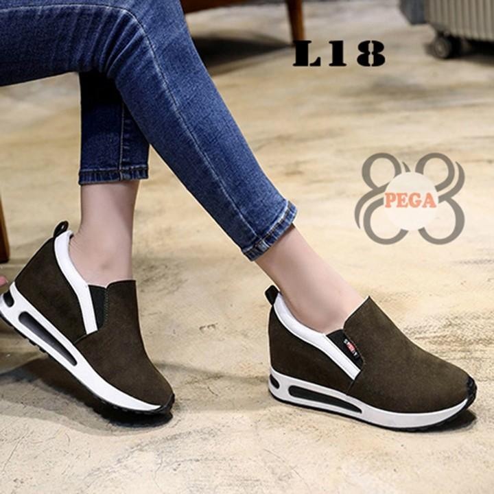 Giày Slip On Da Lộn Độn Đế 7cm sành điệu L18 6