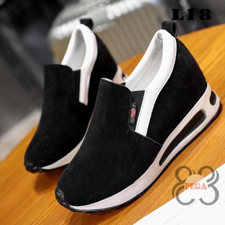 Giày Slip On Da Lộn Độn Đế 7cm sành điệu L18 8