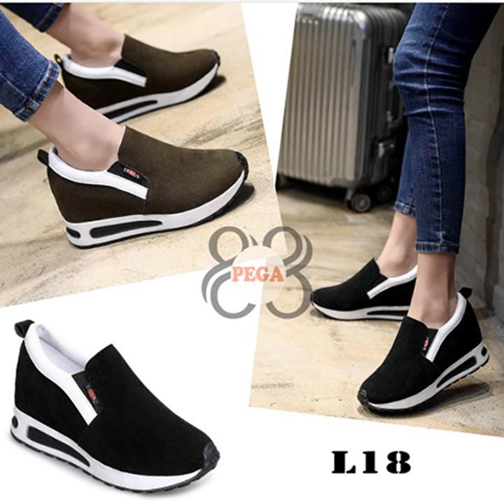 Giày Slip On Da Lộn Độn Đế 7cm sành điệu L18 1