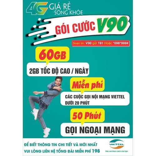 [SALE SẬP SÀN] Sim 4G Viettel V90 Tặng 62GB Tháng Và Miễn Phí gọi nội mạng