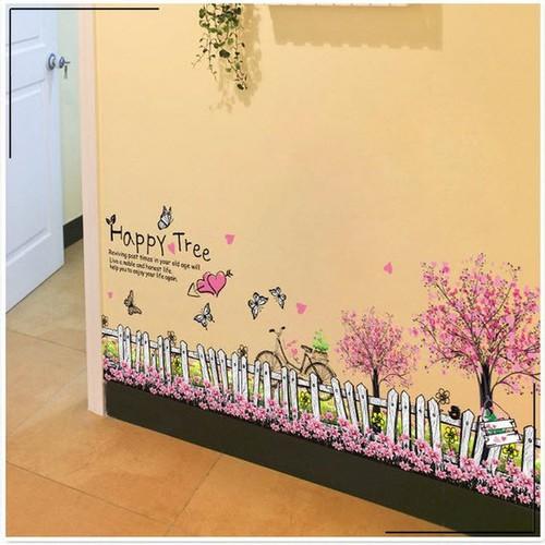 Decal dán tường hàng rào happy tree