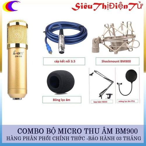 Combo Micro Thu Âm A-Ami BM900 Và Lọc Với Chân