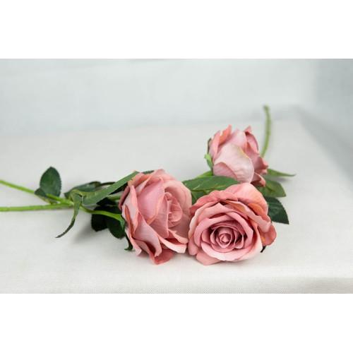 Combo 20 bông hoa hồng màu hồng trầm phủ nhung