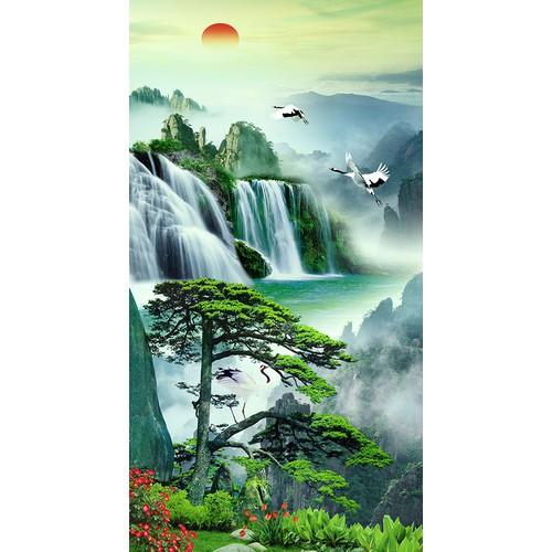 Tranh dán tường khổ dọc Cảnh đẹp thiên nhiên LV-0037 KT 80 x 150 cm kim sa