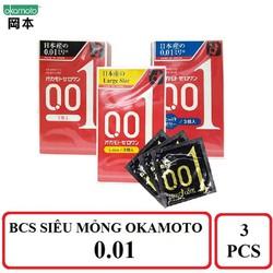 Bao cao su siêu mỏng Okamoto 0.01 hộp 3 chiếc