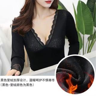 Áo nữ trong lót lông siêu ấm ngoài phối ren cổ V quyến rũ - E3345 thumbnail