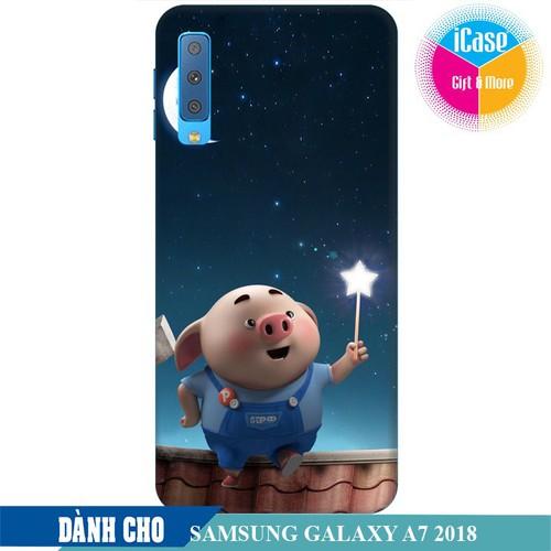 Ốp lưng nhựa dẻo dành cho Samsung GalaxyA7 2018 in hình Heo Con Ngắm Trăng