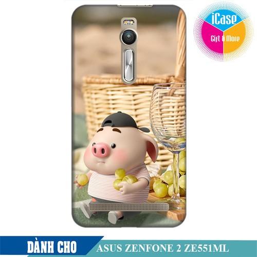 Ốp lưng nhựa dẻo dành cho Asus Zenfone 2 ZE550ML in hình Heo Con Tham Ăn