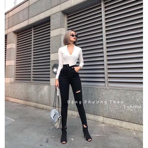 Quần jeans nữ đen