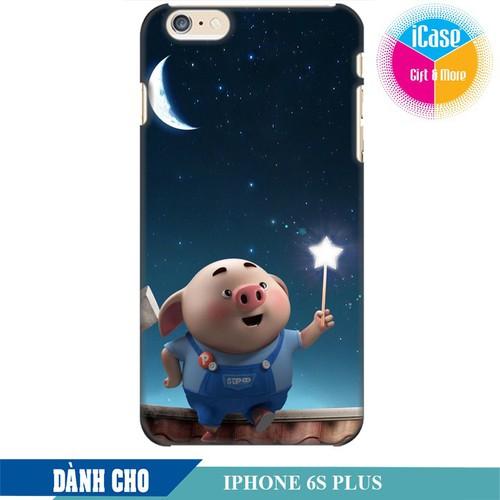 Ốp lưng nhựa dẻo dành cho iPhone 6S Plus in hình Heo Con Ngắm Trăng