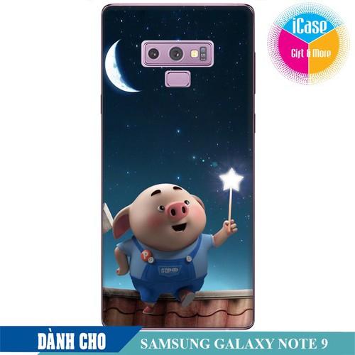 Ốp lưng nhựa dẻo dành cho Samsung GalaxyNote 9 in hình Heo Con Ngắm Trăng