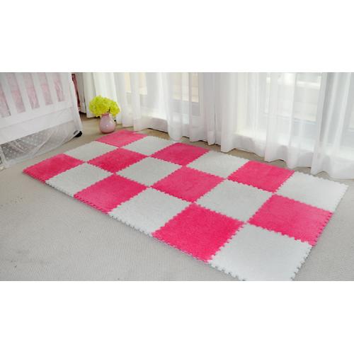 Bộ 12 miếng thảm lông xốp lắp ghép dori 6 trắng kem + 6 hồng đậm