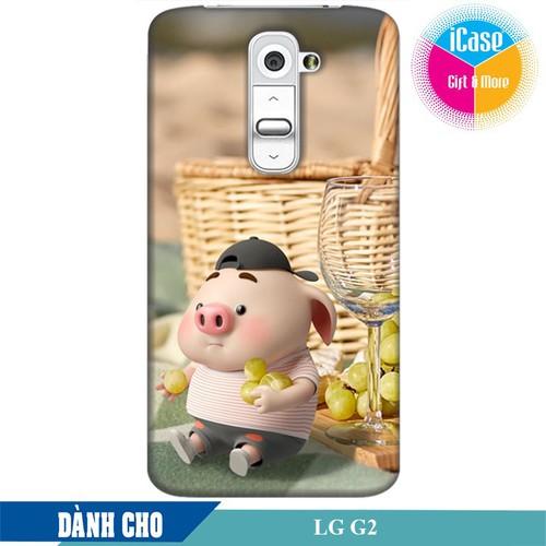 Ốp lưng nhựa dẻo dành cho LG G2 in hình Heo Con Tham Ăn
