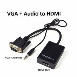 Cáp chuyển VGA to HDMI FULL HD có audio âm thanh 3.5-Đầu chuyển đổi tin hiệu Vga sang Hdmi có âm thanh audio
