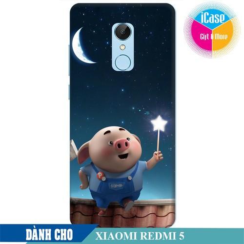Ốp lưng nhựa dẻo dành cho Xiaomi Redmi 5 in hình Heo Con Ngắm Trăng
