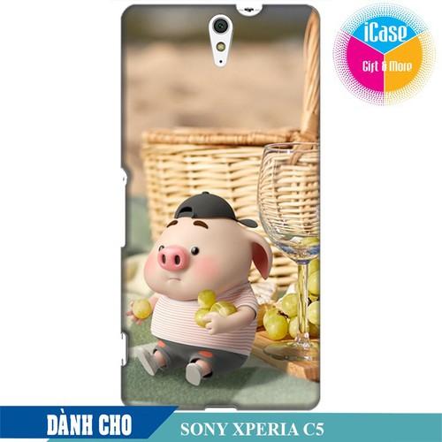 Ốp lưng nhựa dẻo dành cho Sony C5 in hình Heo Con Tham Ăn