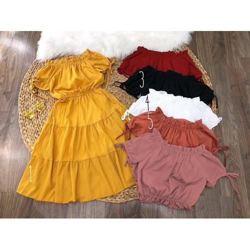 Đầm maxi bé gái bẹt vai nối tầng cực xinh bé từ 11kg đến 45kg - Nhí - Đỏ đô